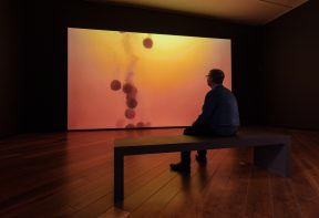 Man sitting on a bench in a dimly lit gallery space, watching a large scale projection of berocca tablets fizzing in water.