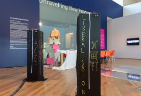 Installation view, Afro Futures_UK: Unravelling New Futures, Firstsite, 2020. Photograph by Anna Lukala