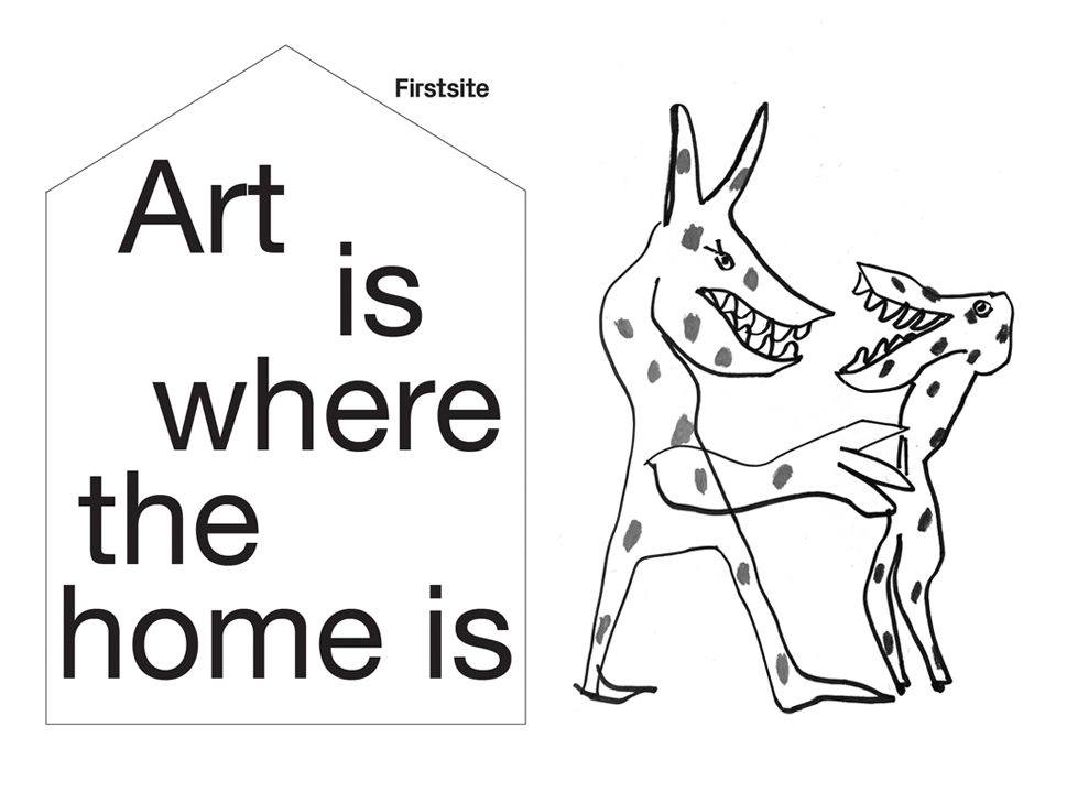 Colouring book page by artist Annie Morris, taken from Firstisite's activity pack 'Art is where the home is'