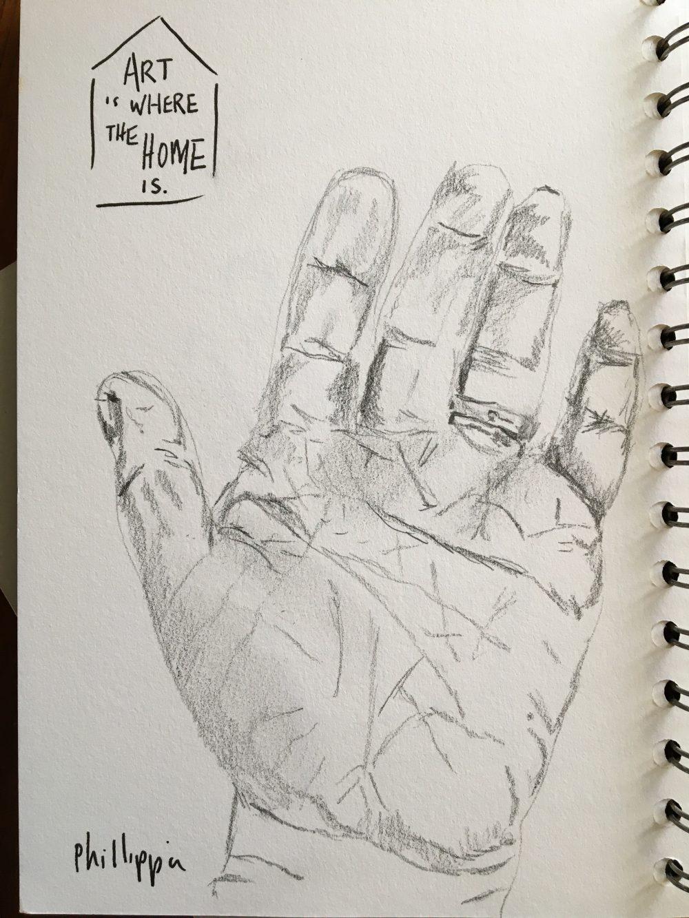 A waving hand drawn in pencil
