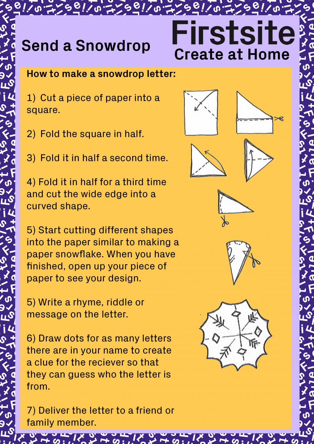 instructions for how to make a snowdrop letter page 1 of 2