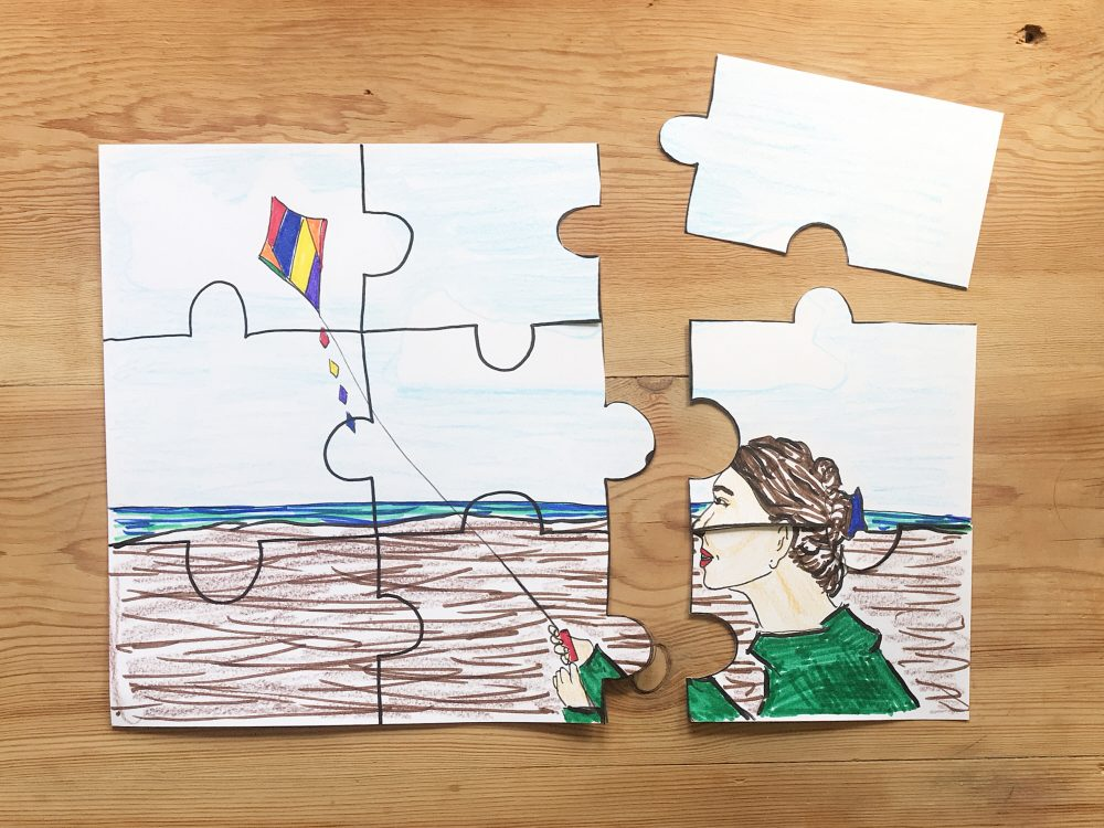 A puzzle with a hand drawn picture on it