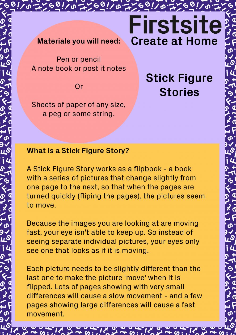 Written instructions for how to make a stick figure story page 1 of 3