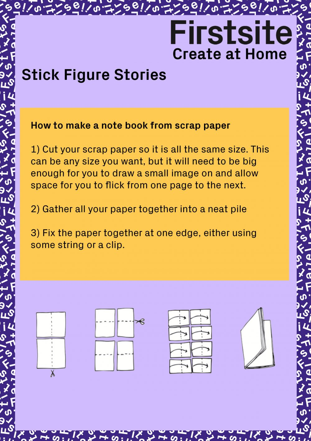 Written instructions for how to make a stick figure story page 2 of 3