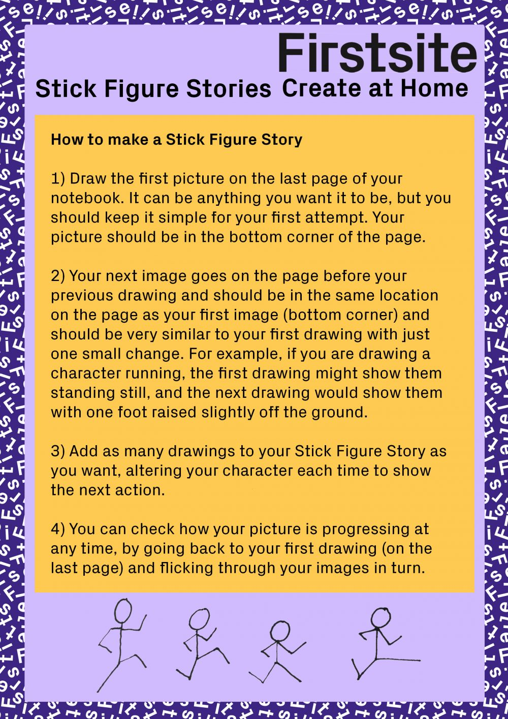 Written instructions for how to make a stick figure story page 3 of 3