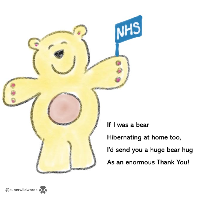 An illustrated teddy bear holding a flag that says 'NHS'