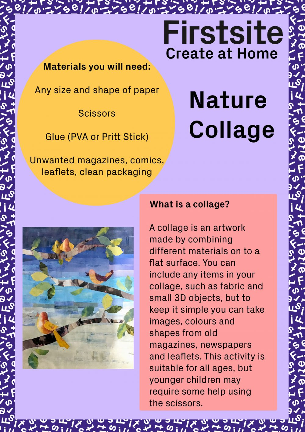 Image of instructions for how to make a nature collage