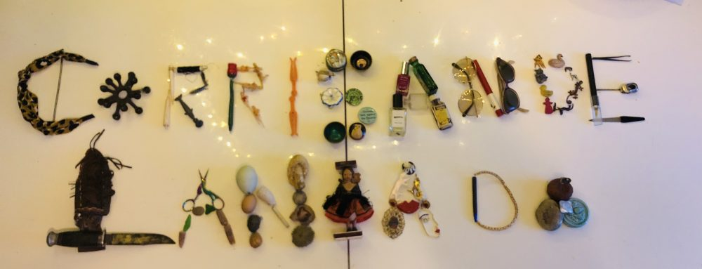 The name 'Corri' written in objects as part of Firstsite's 'Art is where the home is' activity pack during lockdown 2020.