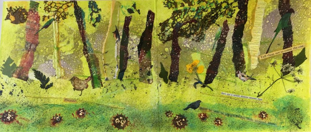Ann Burnham's Lockdown book - page detail of painted trees and wildlife