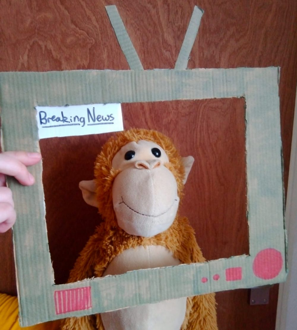 Firstsite Create at Home Fame Frame activity - a toy monkey on tv