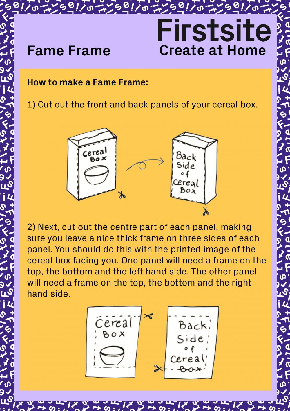 Firstsite Create at Home Fame Frame activity instructions pg 2 of 3