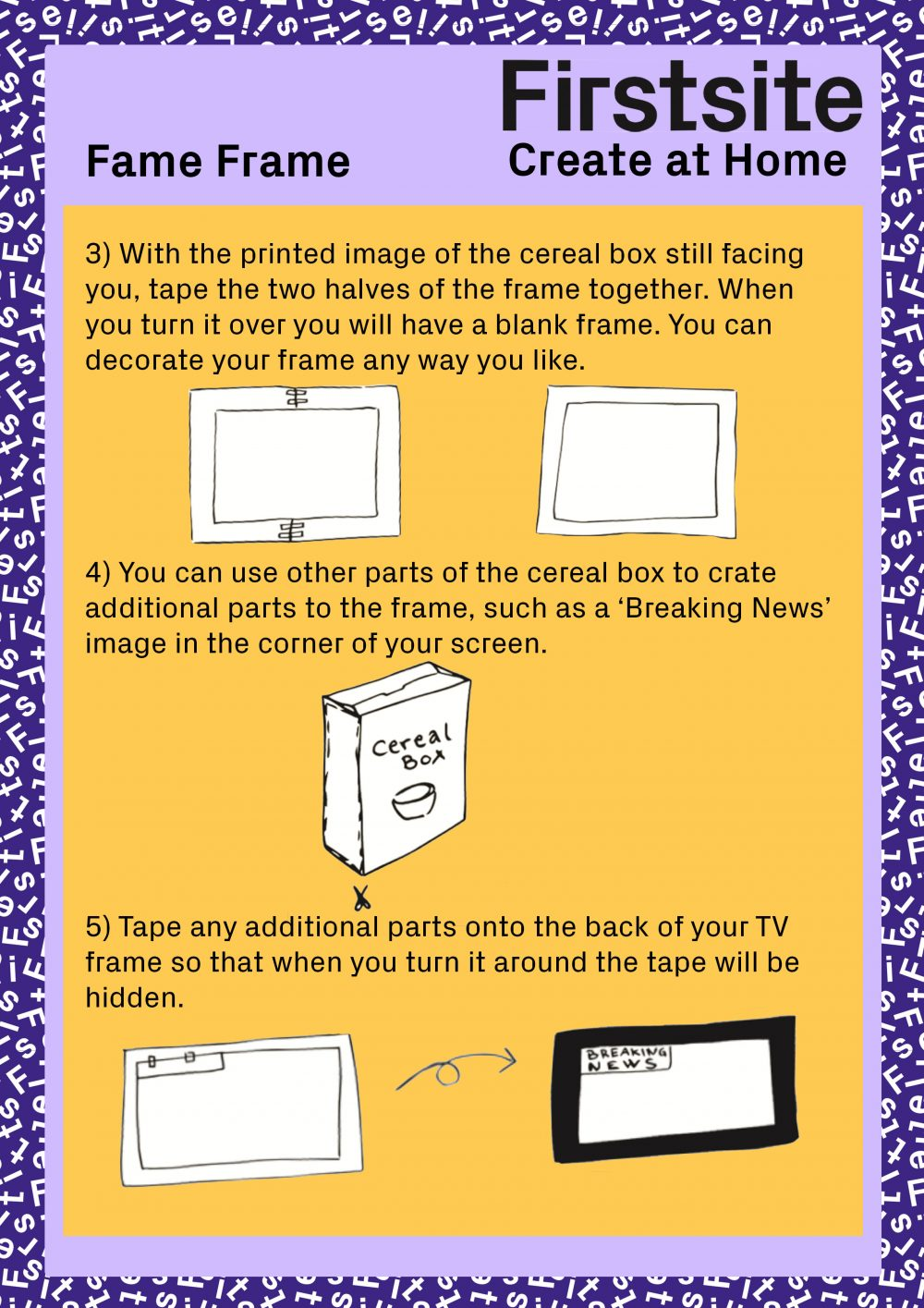 Firstsite Create at Home Fame Frame activity instructions pg 3 of 3