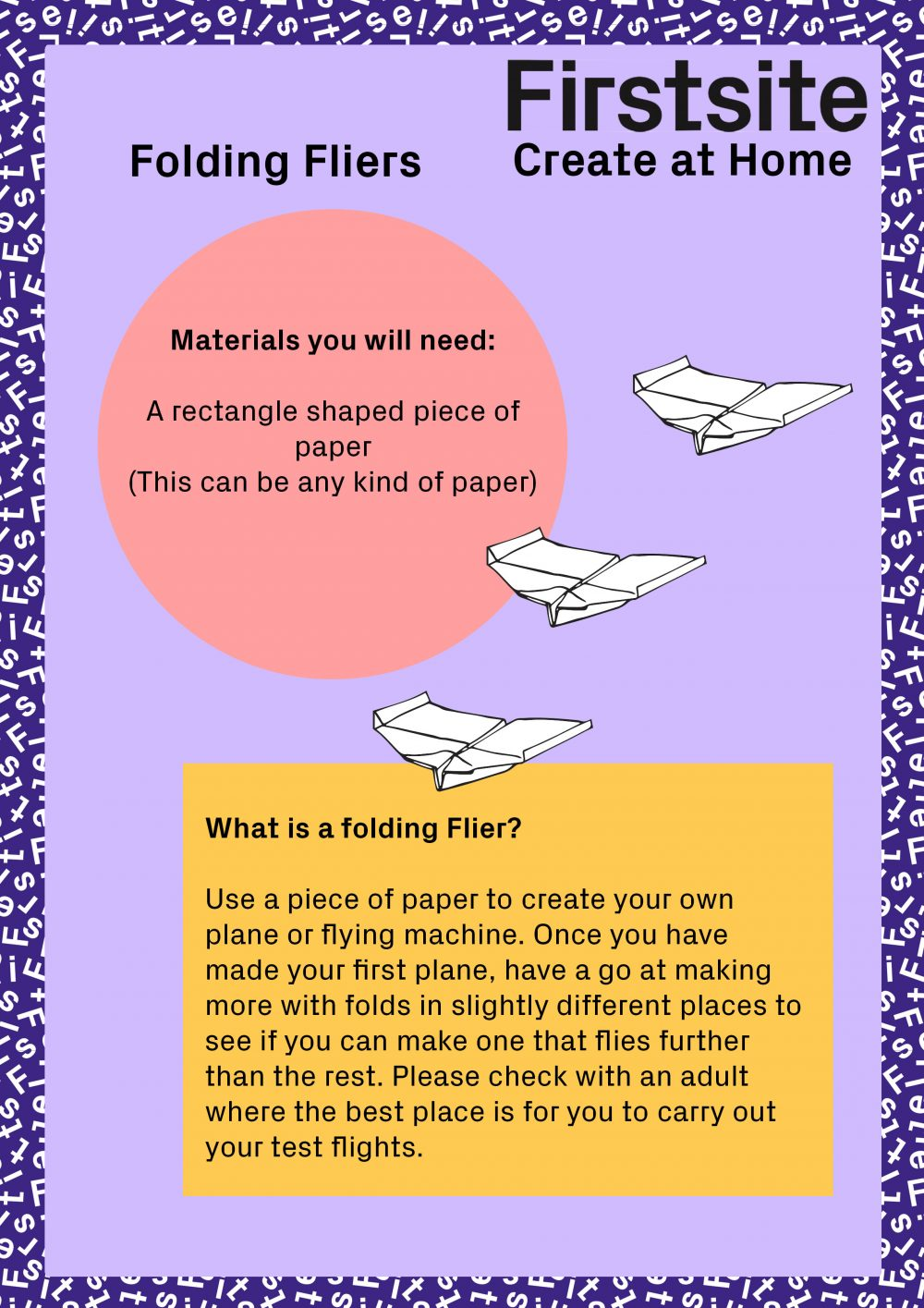 Firstsite Create at Home Folding Fliers Instructions page 1 of 3
