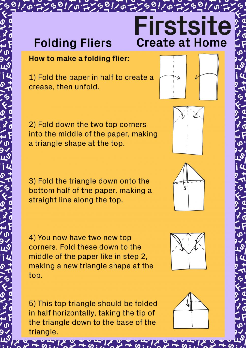Firstsite Create at Home Folding Fliers Instructions page 2 of 3