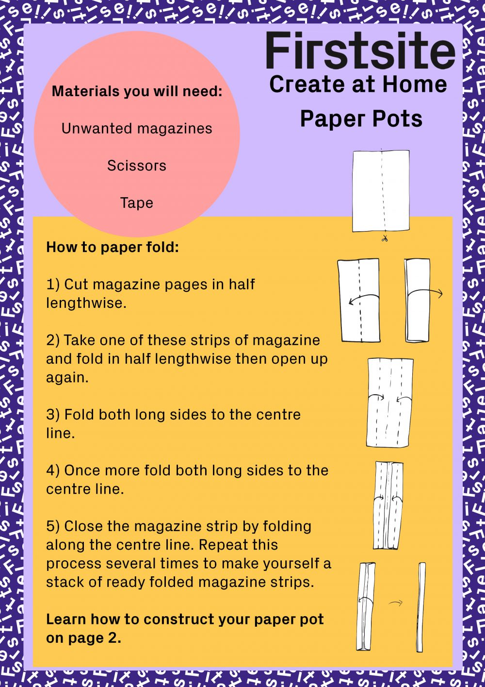 Create at Home Paper pot making activity instructions - 1 of 2