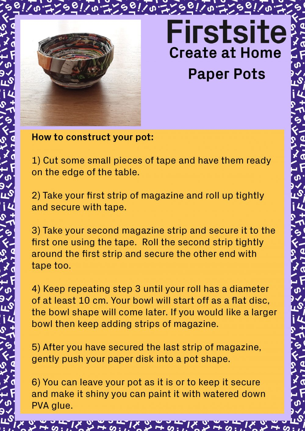 Create at Home Paper pot making activity instructions - 2 of 2