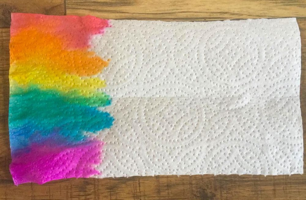 Firstsite Create at Home activity - Rainbow Watercolour on kitchen roll