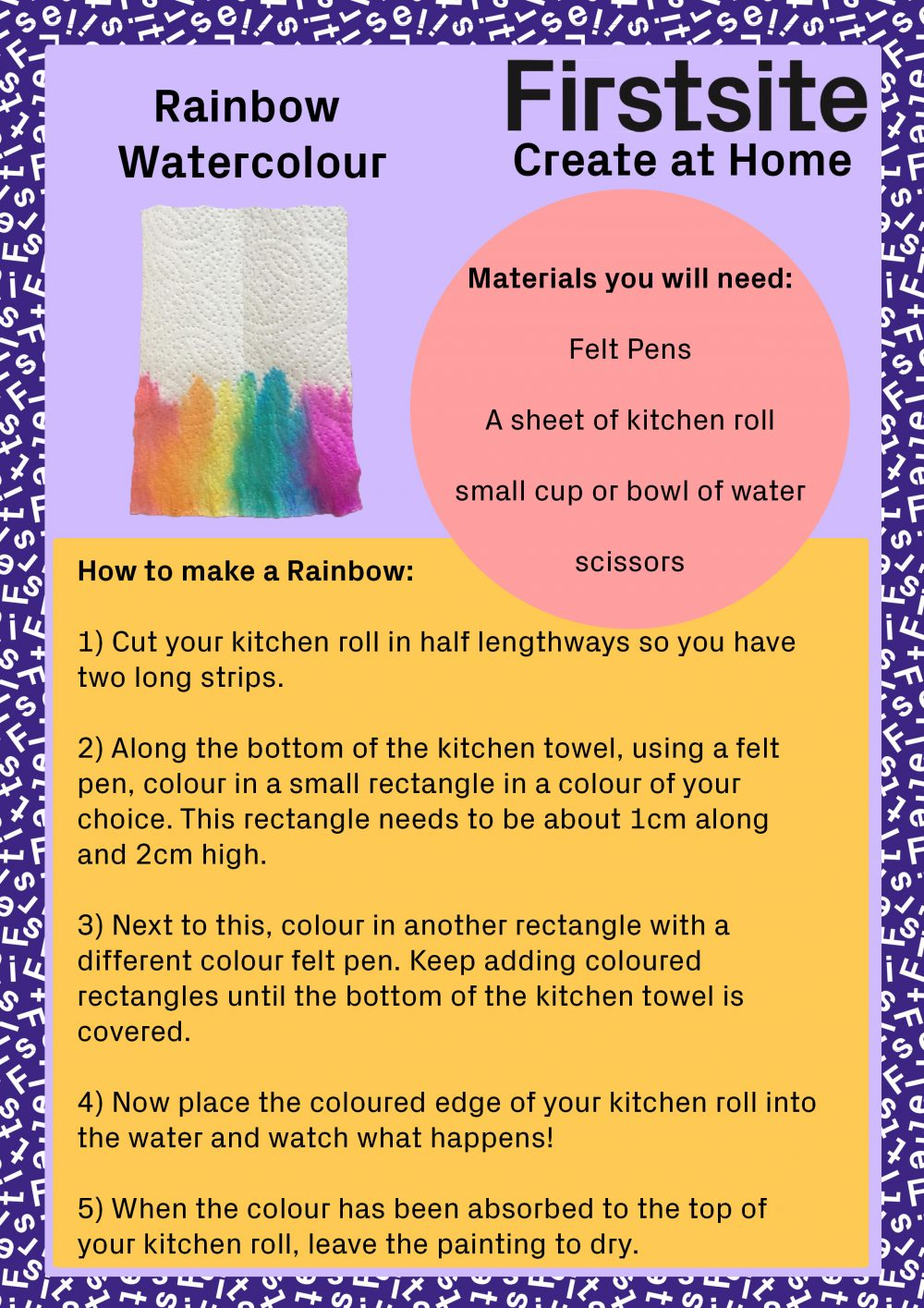 Firstsite Create at Home activity - Rainbow Watercolour Instructions