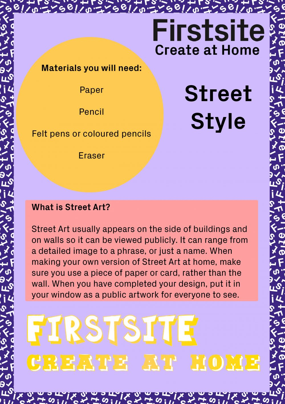 Firstsite Create at Home Street Art Style Activity instructions 1 of 2
