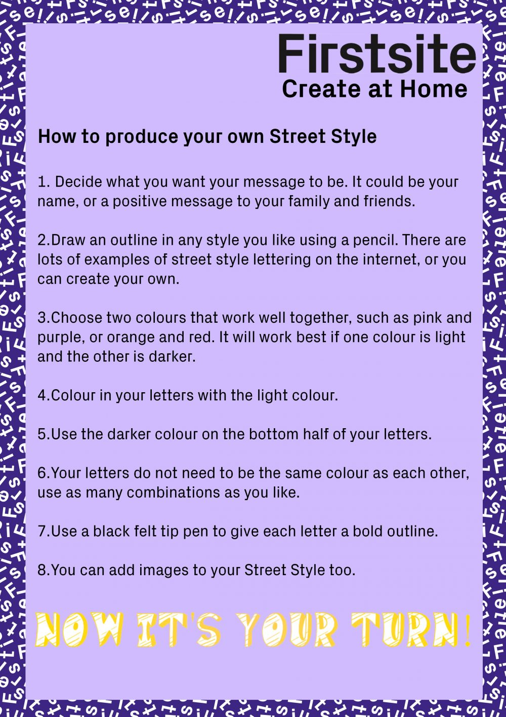Firstsite Create at Home Street Art Style Activity instructions 2 of 2