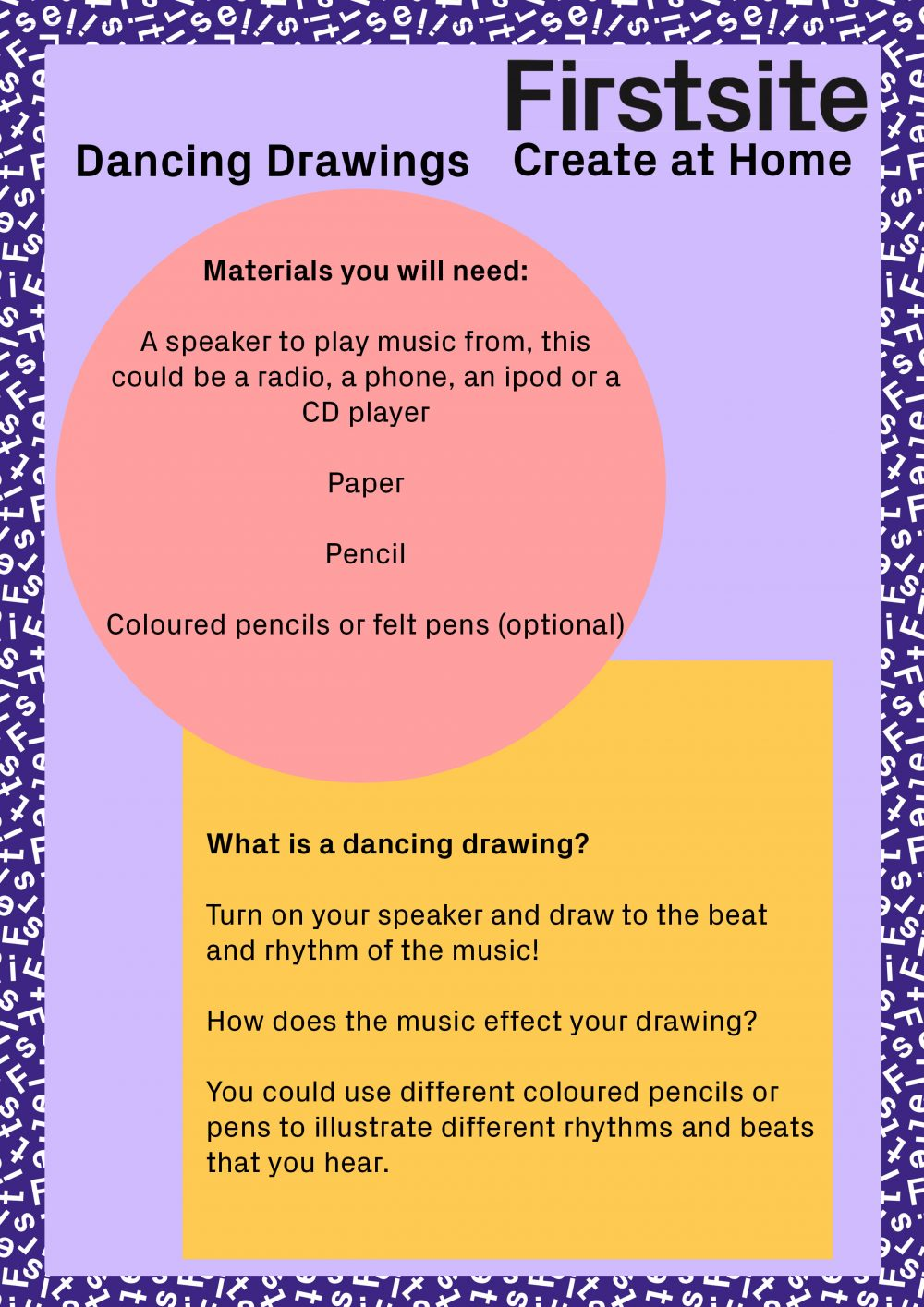 Firstsite Create at Home Dancing Drawings art activity instructions 1 of 2