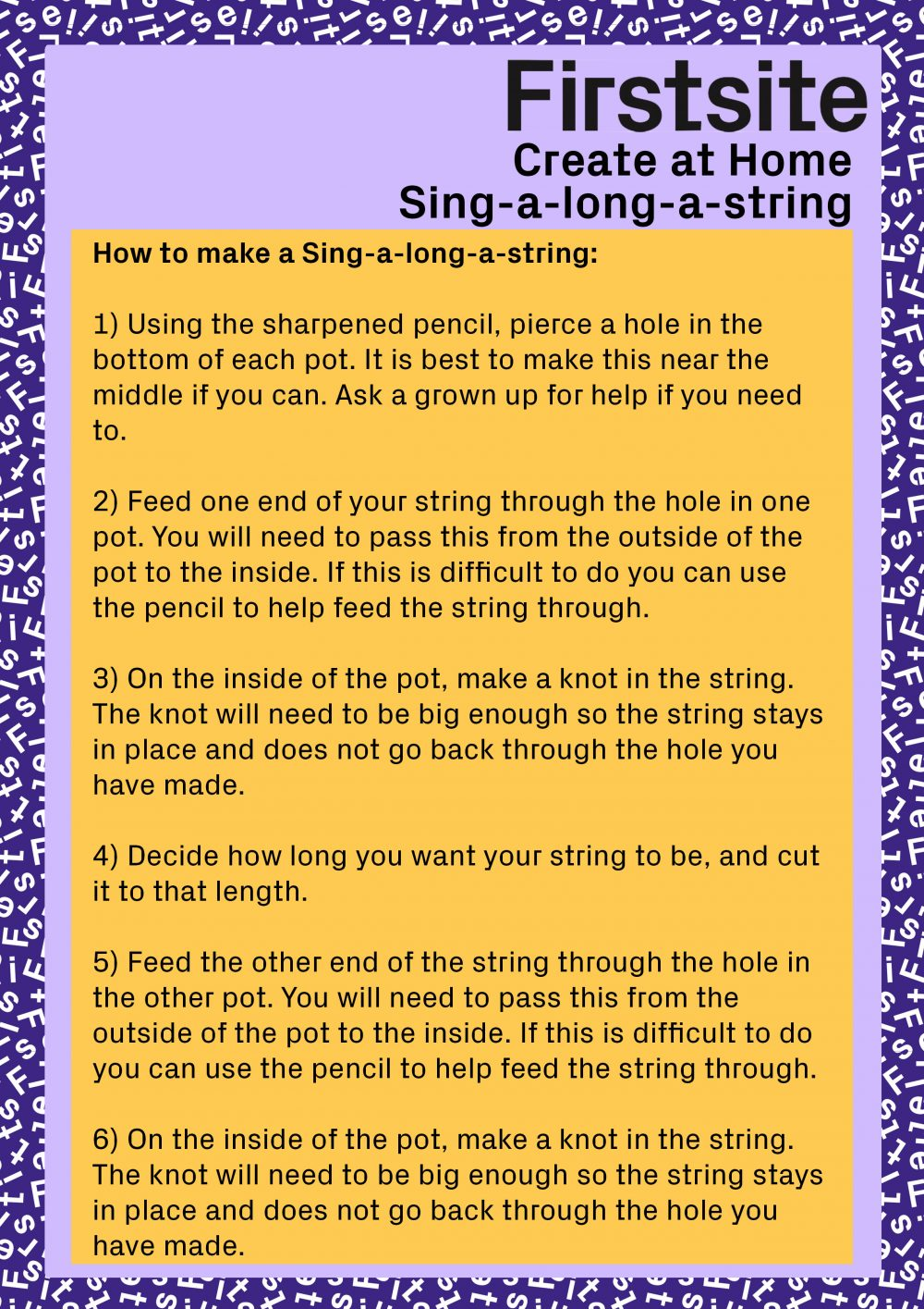 Firstsite Create at Home - Sing along a string instructions page 2 of 2