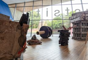 Phyllida Barlow exhibition in Firstsite's Welcome Area