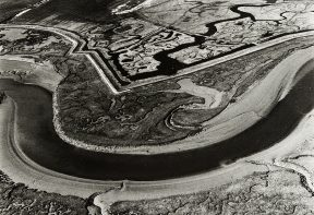 black and white aerial photograph of salt marsh in Essex