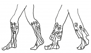 line drawing of two pairs of legs