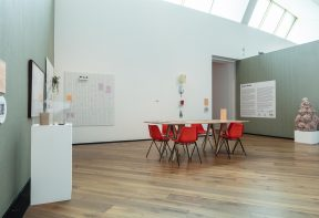 Installation view, House Share, Firstsite, 2021. Photograph by Anna Lukala
